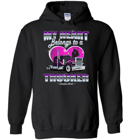 Image of My Heart Belongs To A Trucker Truckers Wife Hoodie black