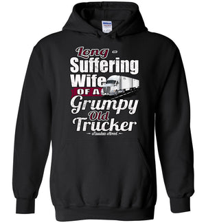 Long-Suffering Wife Of A Grumpy Old Trucker Wife Hoodie LTL black