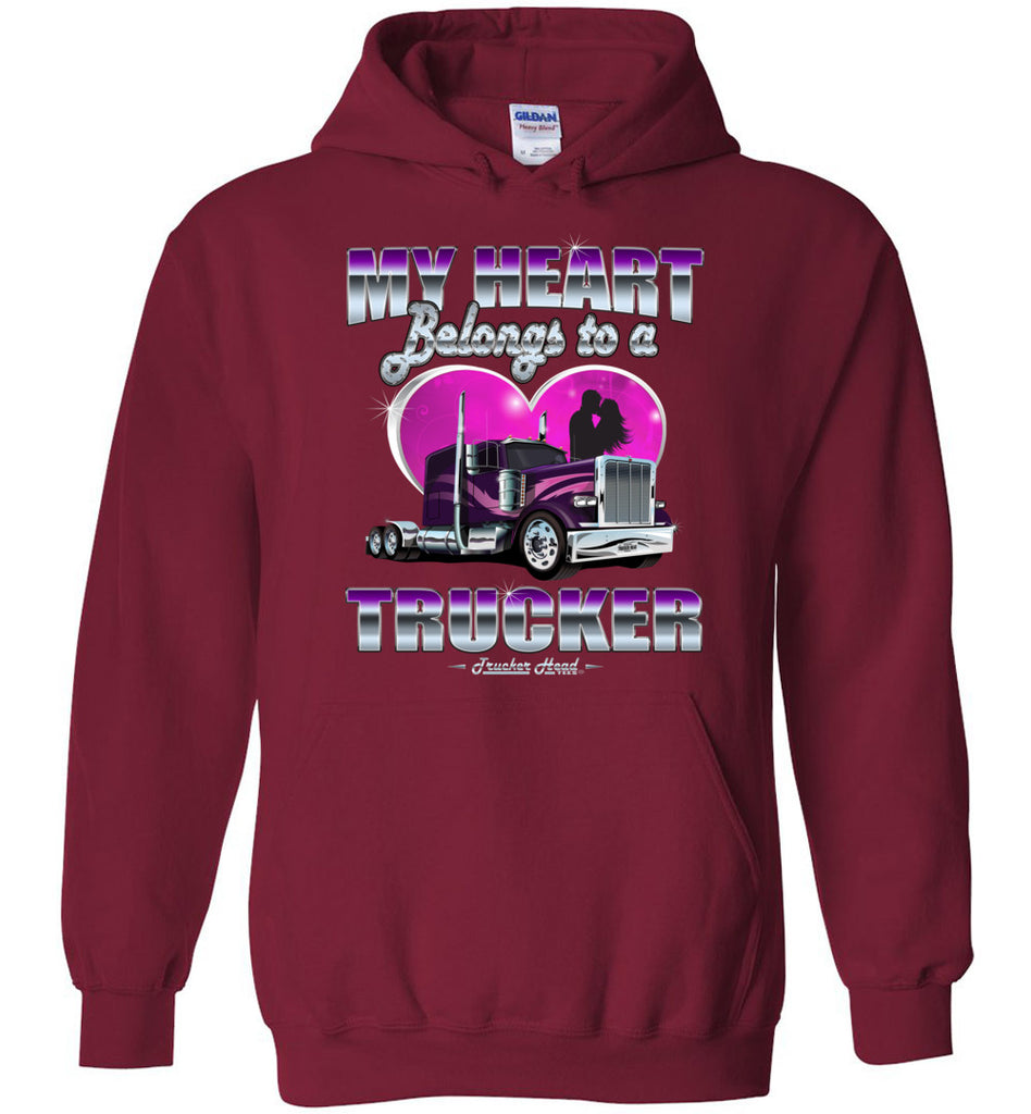 My Heart Belongs To A Trucker Truckers Wife Hoodie red