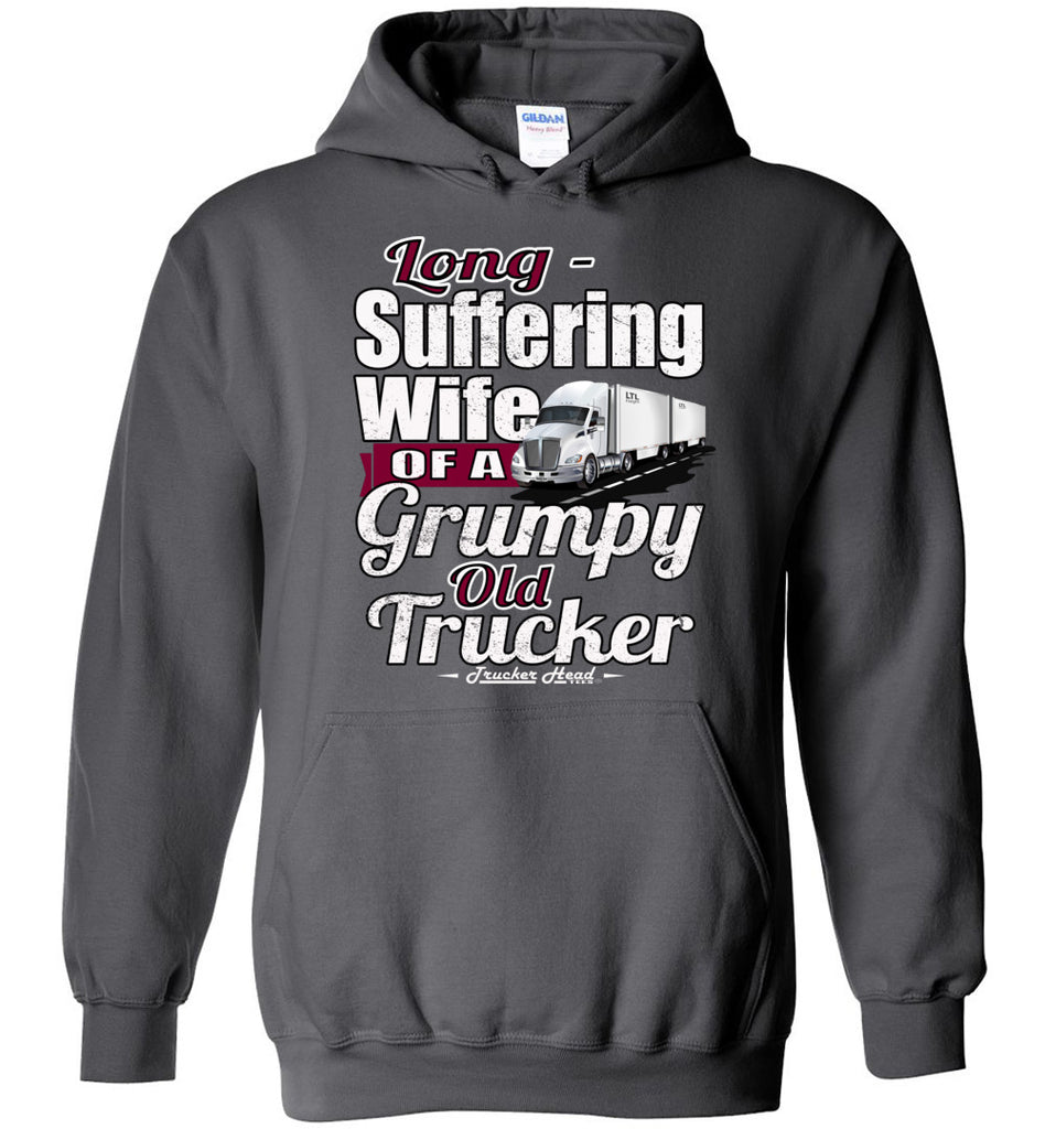 Long-Suffering Wife Of A Grumpy Old Trucker Wife Hoodie LTL charcoal