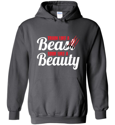 Train Like A Beast Look Like A Beauty Gymnastics Hoodie | Cheer Hoodie | Dance Hoodie charcoal