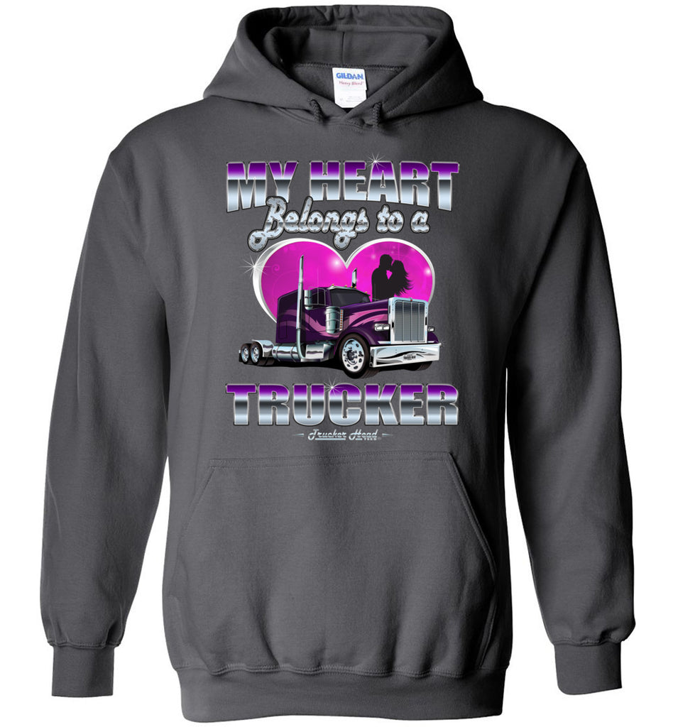 My Heart Belongs To A Trucker Truckers Wife Hoodie charcoal