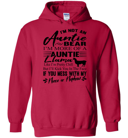 I'm Not An Auntie Bear I'm More Of An Auntie Llama Hoodie red