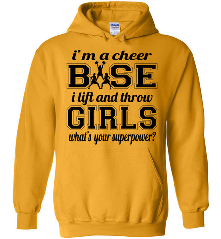 Image of I'm A Cheer Base Funny Cheer Base Hoodies gold
