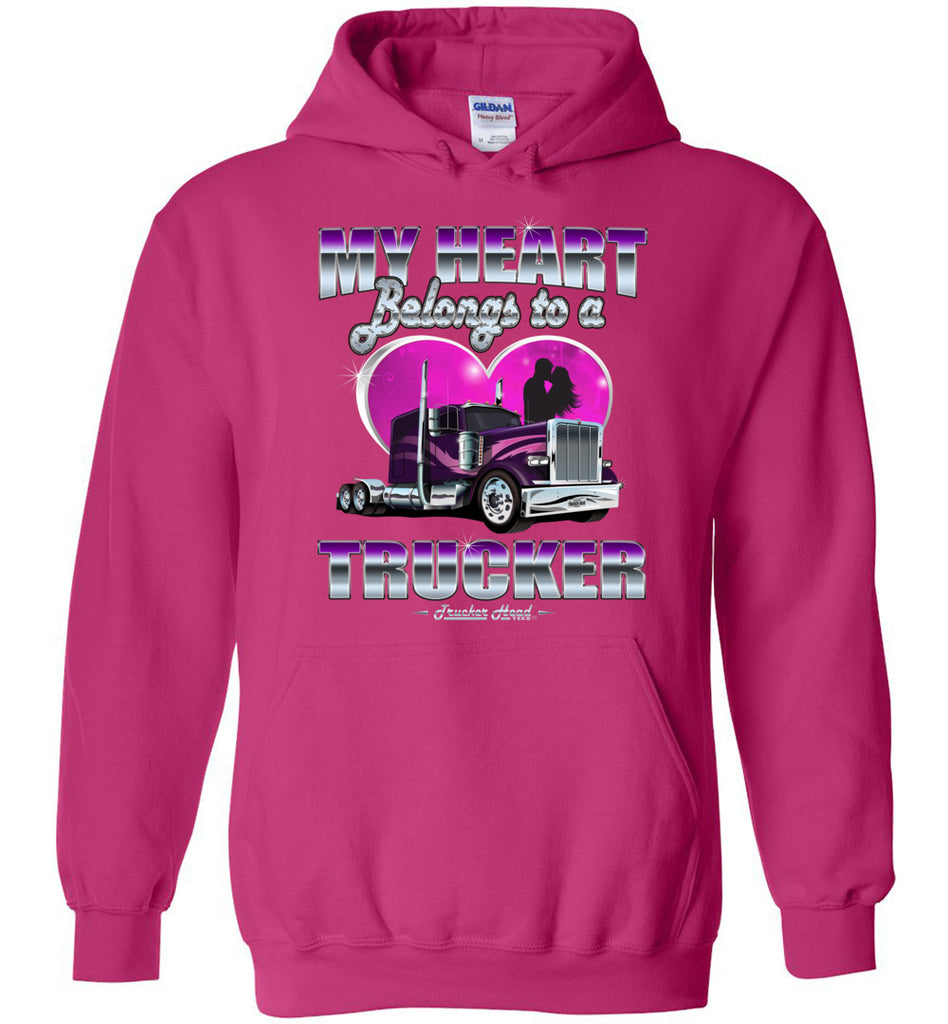 My Heart Belongs To A Trucker Truckers Wife Hoodie pink