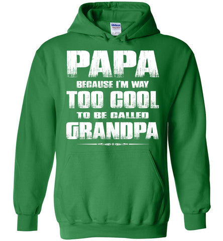 Image of Papa Because I'm Way Too Cool To Be Called Grandpa Hoodie green