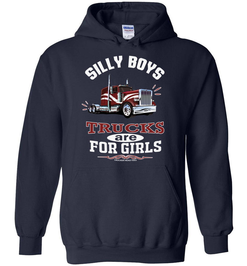 Silly Boys Trucks Are For Girls Women's Trucker Hoodie Pullover navy