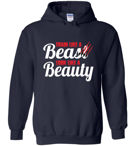 Train Like A Beast Look Like A Beauty Gymnastics Hoodie | Cheer Hoodie | Dance Hoodie navy