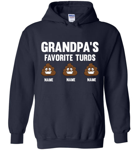 Image of Grandpa's Favorite Turds Funny Grandpa Hoodie  navy