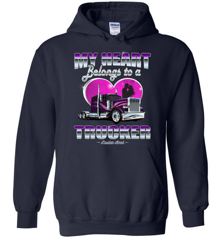 Image of My Heart Belongs To A Trucker Truckers Wife Hoodie navy