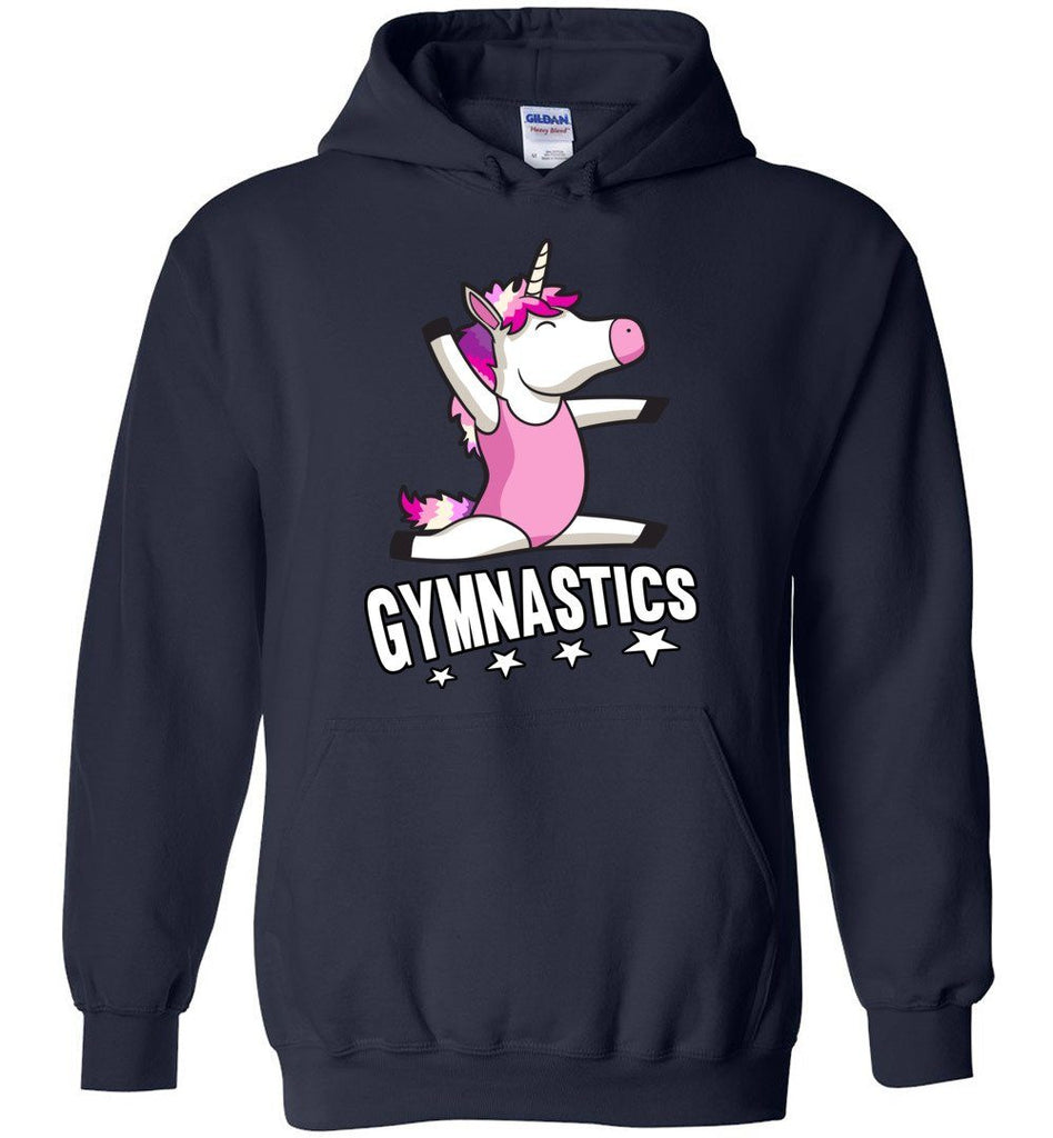 Unicorn Gymnastics Hoodie For Girls navy
