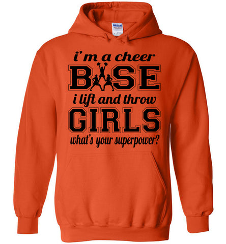 Image of I'm A Cheer Base Funny Cheer Base Hoodies orange