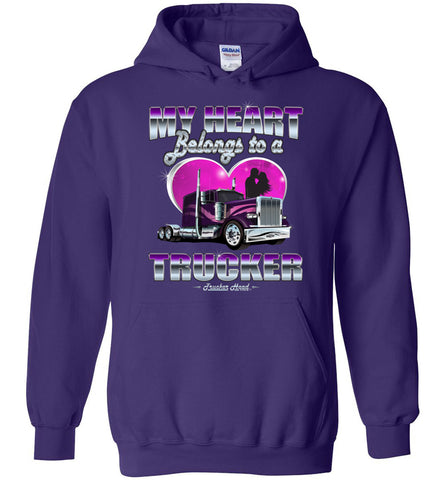 Image of My Heart Belongs To A Trucker Truckers Wife Hoodie purple