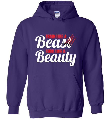 Train Like A Beast Look Like A Beauty Gymnastics Hoodie | Cheer Hoodie | Dance Hoodie purple