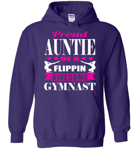 Proud Auntie Of A Flippin Awesome Gymnast Aunt Hoodie purple
