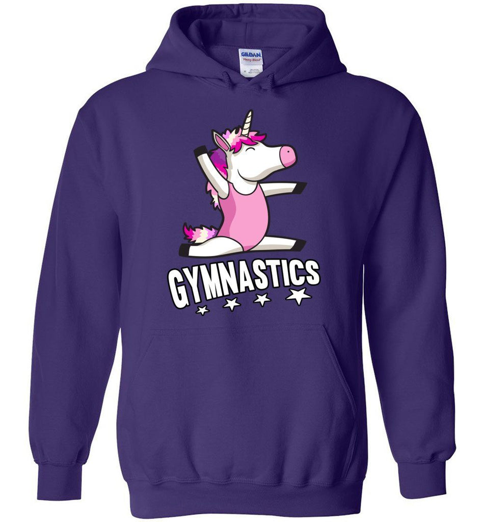 Unicorn Gymnastics Hoodie For Girls purple