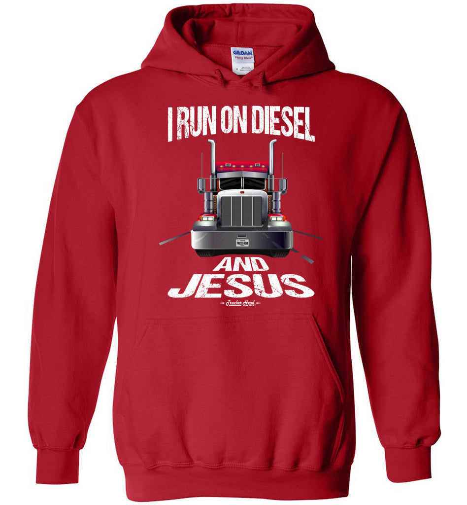 I Run On Diesel And Jesus Christian Trucker Hoodie red