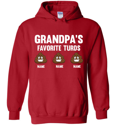 Grandpa's Favorite Turds Funny Grandpa Hoodie  red