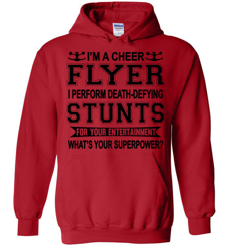 I'm A Cheer Flyer What's Your Superpower? Cheer Flyer Hoodies red