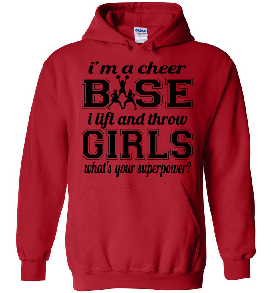 I'm A Cheer Base Funny Cheer Base Hoodies red