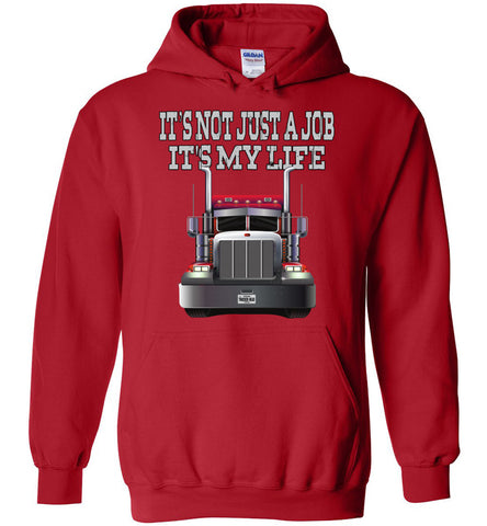 Image of It's Not Just A Job It's My Life Trucker Hoodies red