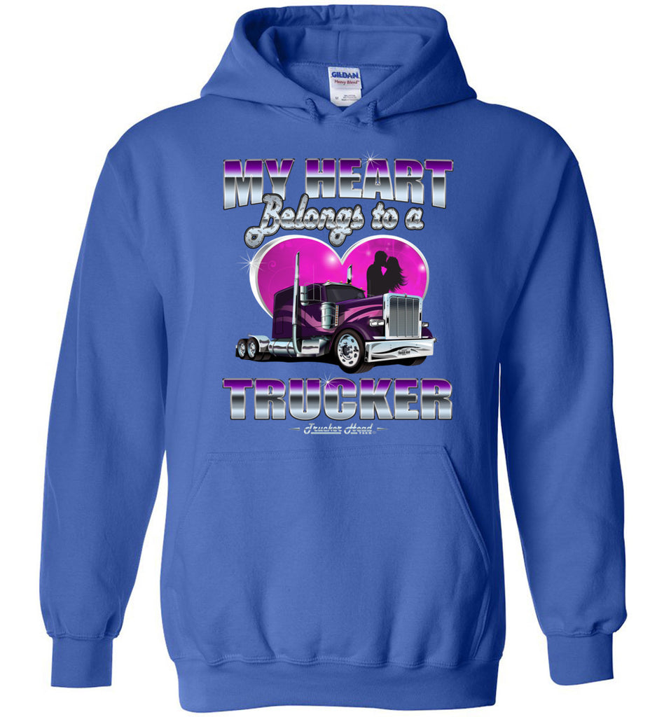 My Heart Belongs To A Trucker Truckers Wife Hoodie royal