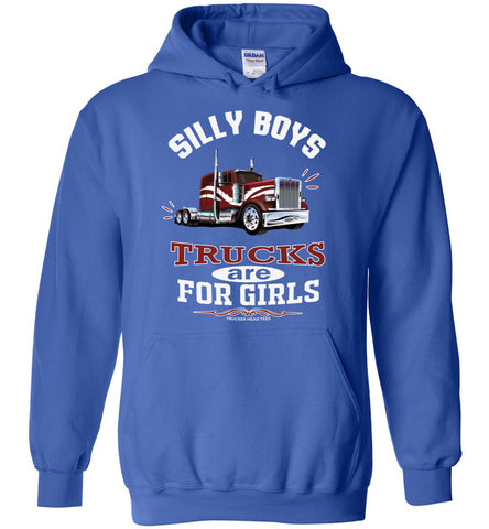 Image of Silly Boys Trucks Are For Girls Women's Trucker Hoodie Pullover royal