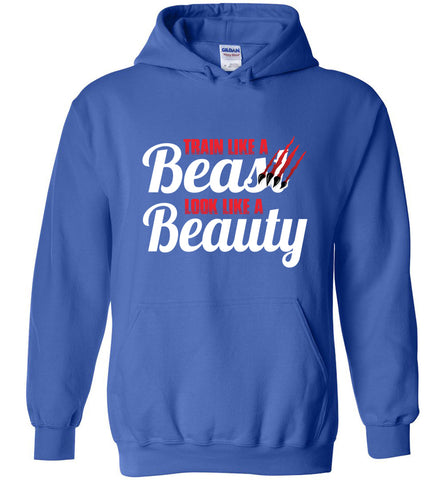 Train Like A Beast Look Like A Beauty Gymnastics Hoodie | Cheer Hoodie | Dance Hoodie royal