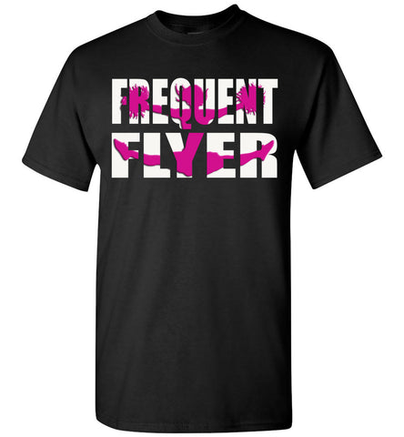 Image of Frequent Flyer Cheer Flyer T Shirt Pink Design youth black
