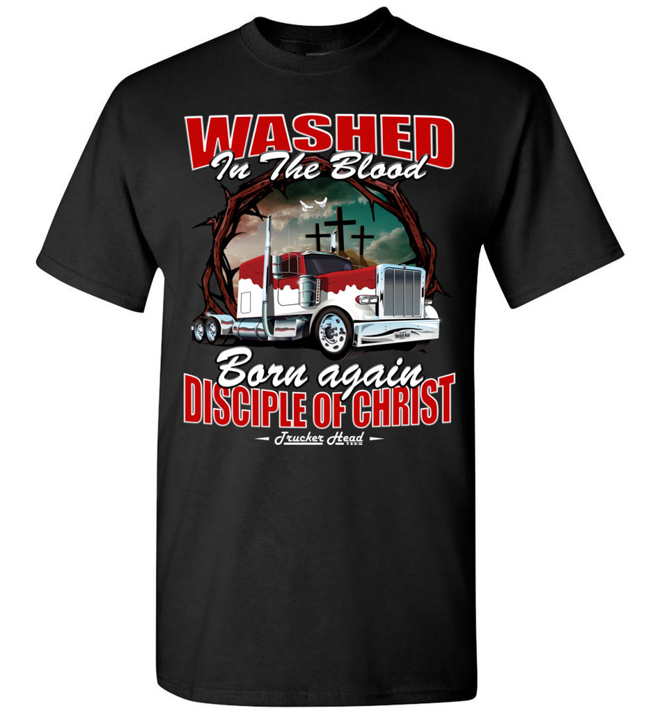 Washed In The Blood Christian Trucker Shirts black