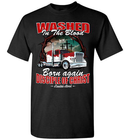 Image of Washed In The Blood Christian Trucker Shirts black