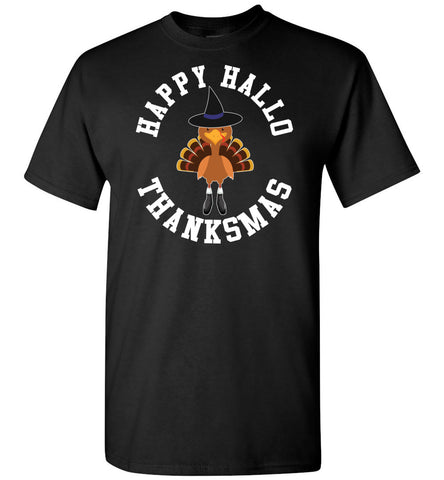 Image of Happy Hallo Thanksmas Funny Holiday Tee Shirt black