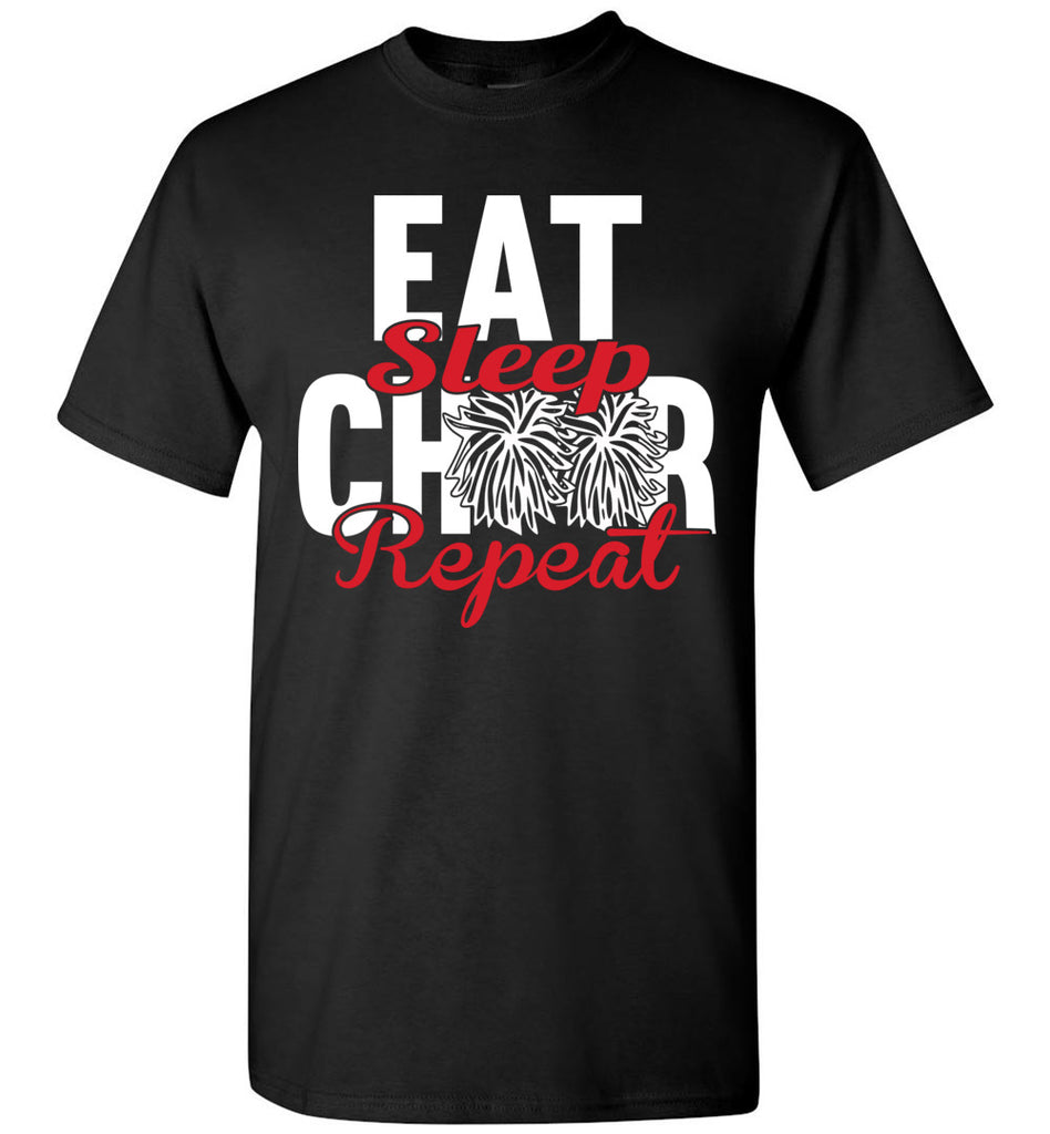 Eat Sleep Cheer Repeat Cheer Shirts unisex black