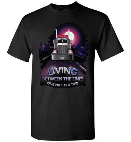 Image of Trucker Shirts, Living Between The Lines Trucker T Shirts gildan black