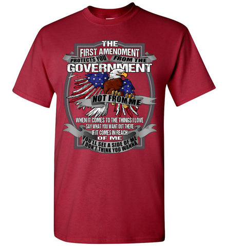 Image of The First Amendment Protects You From The Government Not From Me 1st Amendment T Shirt red
