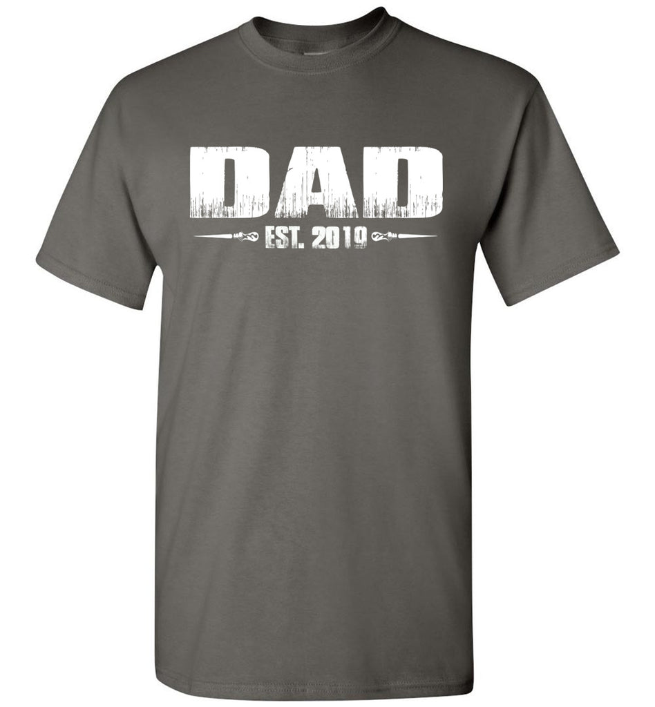 Dad EST. 2019 New Dad T-Shirts charcoal