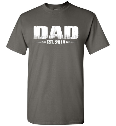 Image of Dad EST. 2019 New Dad T-Shirts charcoal