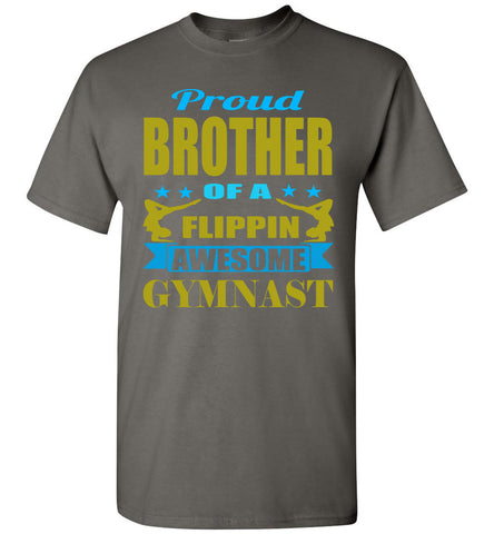 Image of Proud Brother Of A Flippin Awesome Gymnast Gymnastics Brother T-Shirts charcoal