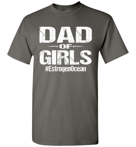 Image of Dad Of Girls T Shirt | Funny Dad Shirts charcoal