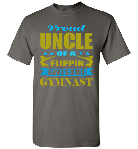 Proud Uncle Of A Flippin Awesome Gymnast Gymnastics Uncle T Shirt charcoal