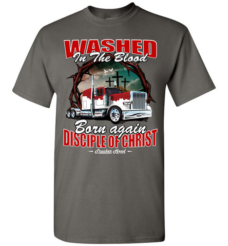Image of Washed In The Blood Christian Trucker Shirts charcoal