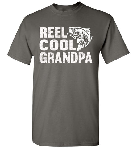 Reel Cool Grandpa Fishing Shirt charcoal