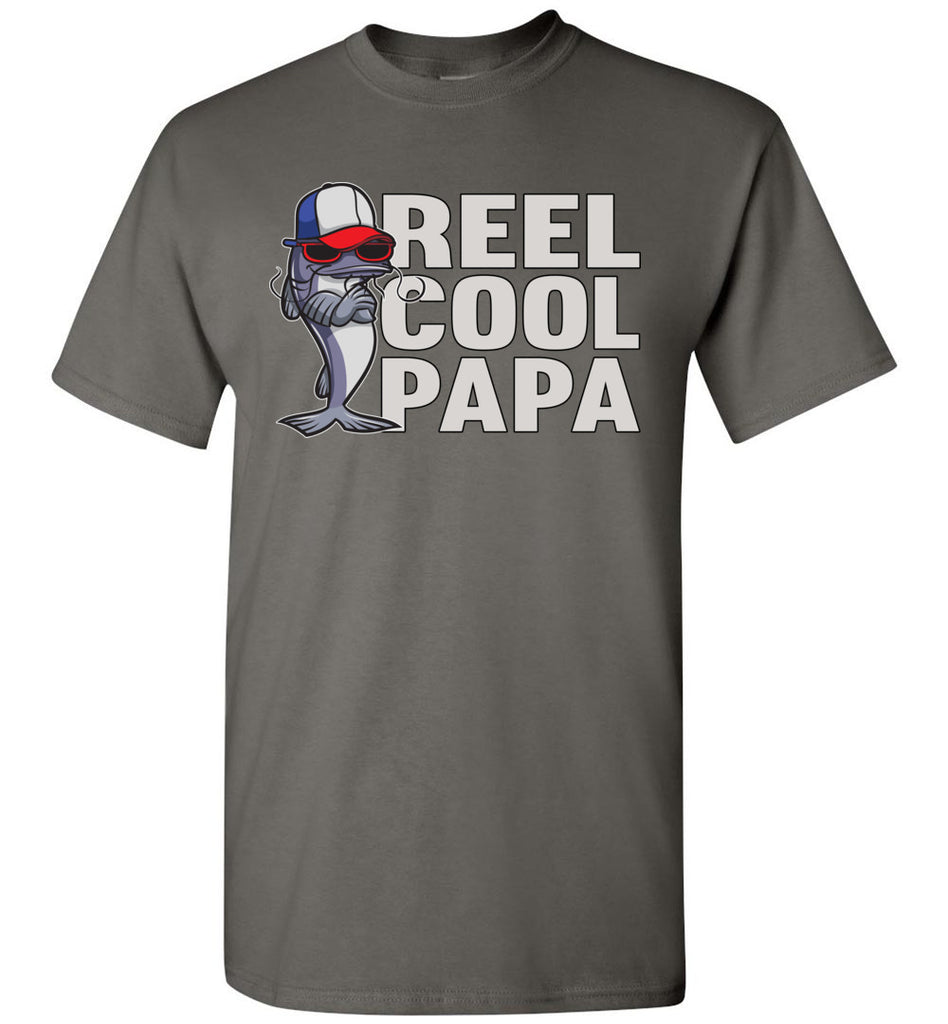 Reel Cool Papa Fishing Tee Shirts charcoal