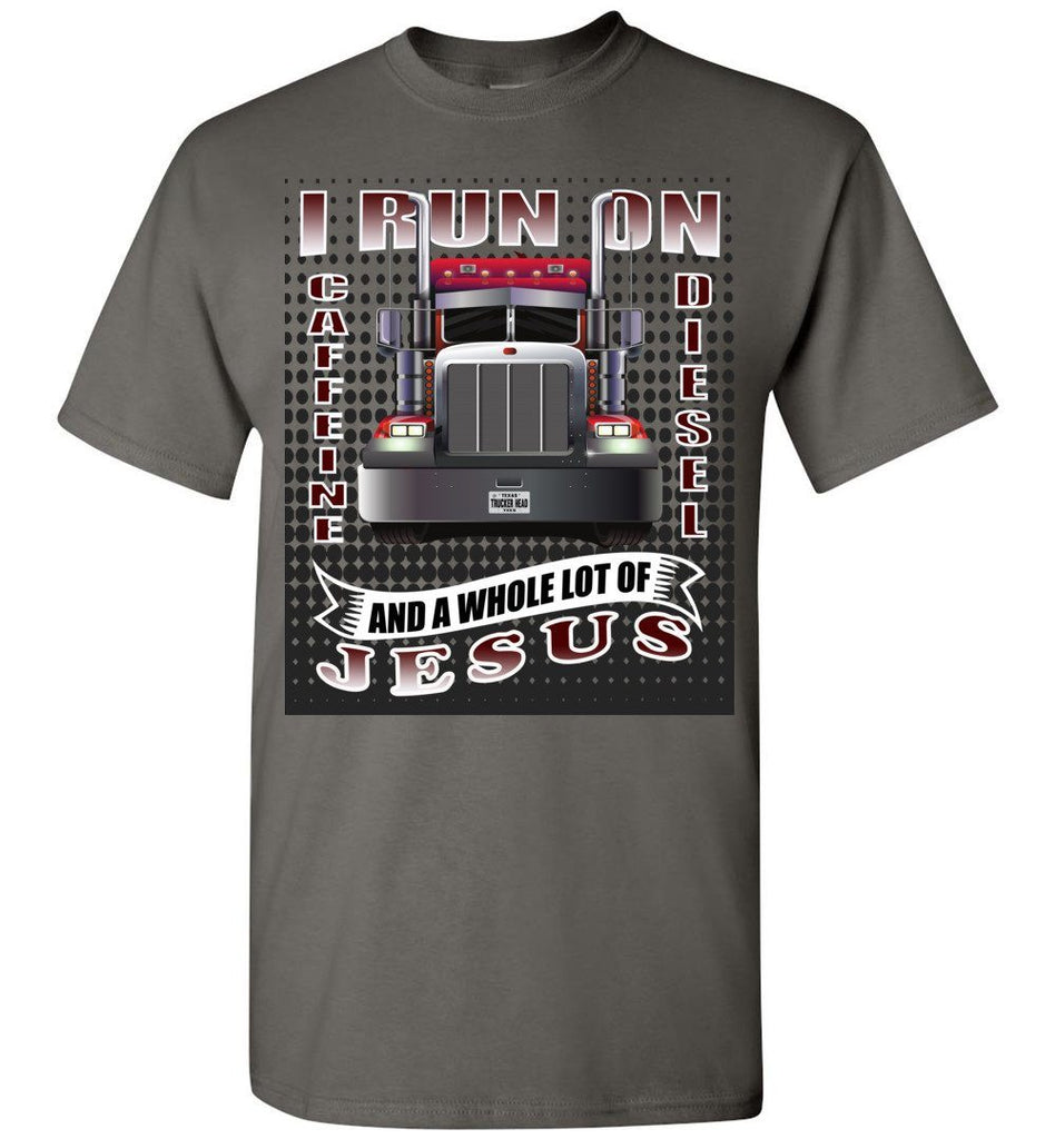 Caffeine Diesel And Jesus Christian Trucker T Shirt gch