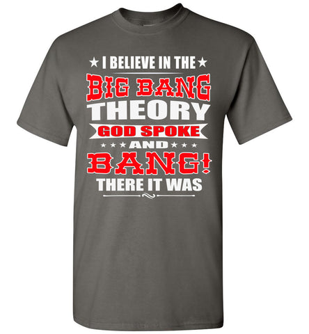 Image of Big Bang Theory Funny Christian Shirts, Creation T Shirt charcoal