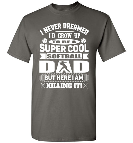 Image of Super Cool Softball Dad Shirts white design  charcoal