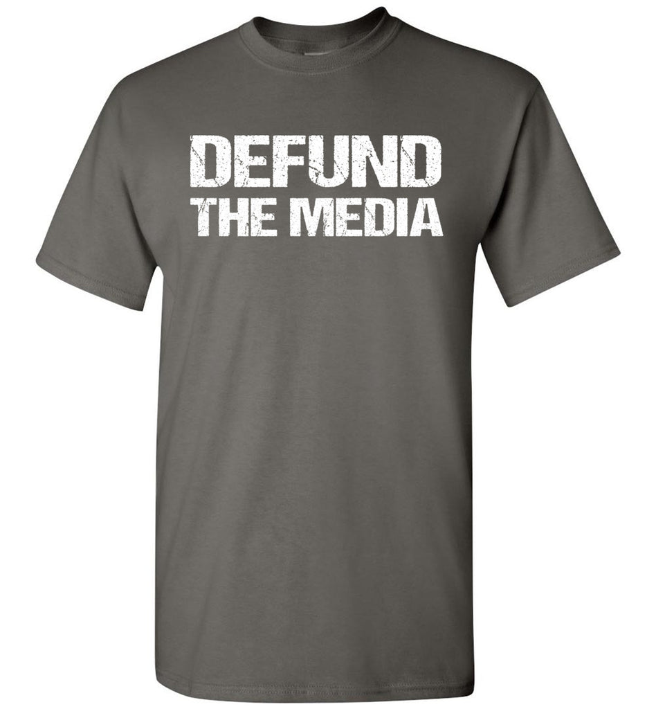 Defund The Media Funny Political Shirts charcoal