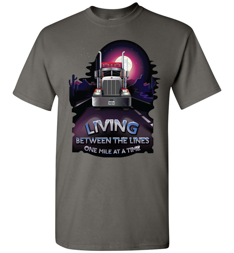Trucker Shirts, Living Between The Lines Trucker T Shirts gildan charcoal