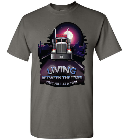 Image of Trucker Shirts, Living Between The Lines Trucker T Shirts gildan charcoal