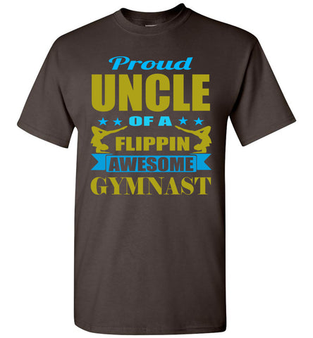 Proud Uncle Of A Flippin Awesome Gymnast Gymnastics Uncle T Shirt brown